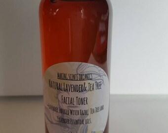 Natural Lavender & Tea Tree Facial Toner Astringent 4 ounces~ Clear Skin!