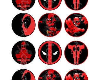 Superhero Deadpool (C) Edible Cupcake/Cookie Toppers for Birthday Party or other Special Occasion!