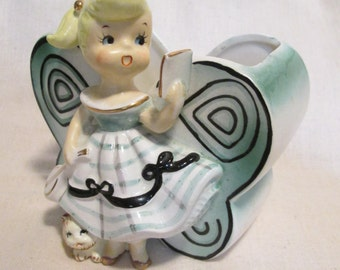 Darling Vintage Butterfly shaped Planter with Singing Girl and Kitty by Consco