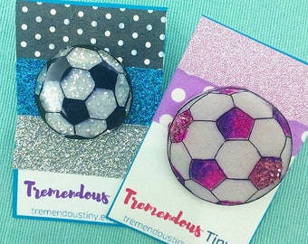 Soccer Ball Pin | Sports, Athlete, Lapel Pin, Backpack Pin, Broich, Glitter Jewelry, Sporty Cute Gift