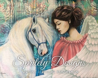 "8"" X 10 1/2"" Print  from original mixed media artwork 'Angelic Serendipity'"