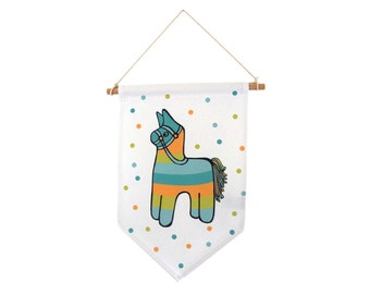 Banner pinata, blue, green, yellow, wall decoration in tissue, wood wand.