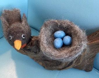 Felted Robin with Birds Nest and Robin Eggs, Wool Bird, Felted Bird & Nest
