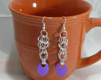Dragon Scale, Chainmail Earrings with Scales, Silver Plated Chainmail, Chainmail Earrings