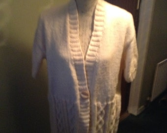 short sleeved aran cardigan