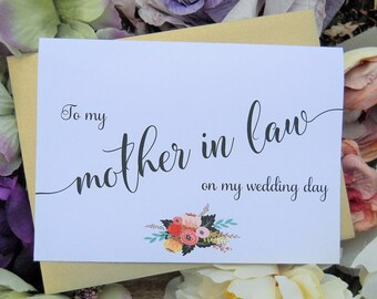 To My MOTHER In LAW CARD, Wedding Party Cards, Mother In Law Thank You, Mother In Law Gift, Wedding Stationery, Wedding Thank You Cards
