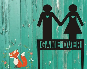 Game Over Wedding Cake Topper, Unique Wedding Cake Topper, Gamer Wedding Cake Topper, Nerdy Wedding Cake Topper, Geeky Wedding Cake Topper