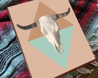 Southwest Decor - Long Horn Skull - Southwest Wall Art - Longhorn Skull - Wood Art Print