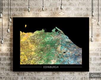 Edinburgh Map - City Street Map of Edinburgh, Scotland - Art Print Watercolor Illustration Wall Art Home Decor Gift - PRINT