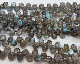 "5 strands, Labradorite Smooth Pear Briolette,  8"" Strand,  blue luster Labradorite, 7x9mm , 8x10mmsize"