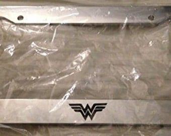 "Wonderwoman "" W "" Super Hero - Chrome Automotive License Plate Frame -  Super Mom Wonder woman"