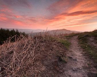 A3 print of sunset over Hope, Castleton, Debyshire, Peak District U.K