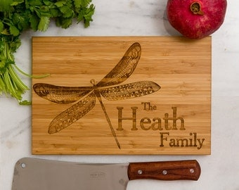 Personalized Cutting Board, Wedding Gift, Dragonfly, Anniversary Gift, Family Name, Engraved Gift, Monogram, Gift for Chef,