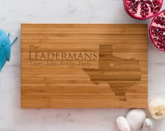 Texas Personalized Cutting Board Men Chef Dad Mom Gift Initials Home State Wedding Anniversary Kitchen Decor Shower Family Monogram Wood