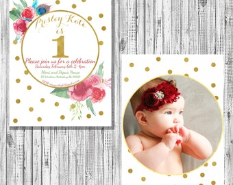 First Birthday photo floral invitation