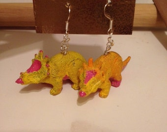 Yellow Dinosaur Earrings