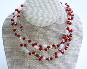 White, Red and Silver Multi Strand Necklace