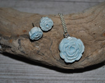 Handmade Vintage Inspired Rose Earring and Necklace Set