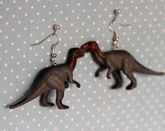 Dinosaur earrings, grey, T-rex