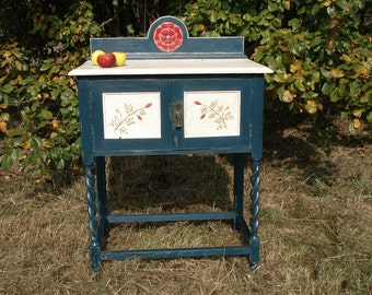 Hand painted wash stand with cupboard