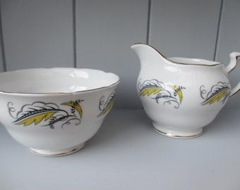 Vintage Crown Royal Sugar Bowl and Creamer Bone China