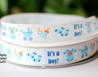 "It's A Boy Grosgrain Ribbon, 7/8"" Printed Baby Ribbon, Craft Ribbon, Ribbon by the Yard"