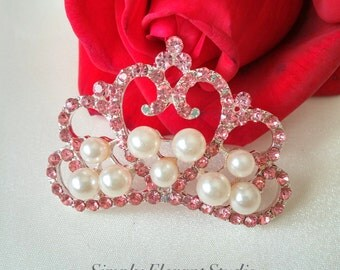 4 Large Gorgeous Pink Rhinestone and Pearl Princess Crown, Crystal Pearl Tiara, Flat back Pearl Button