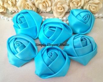 "1.8"" Blue Satin Roses, 3 Vintage Rolled Fabric Rosettes, Baby Headband Flowers, Wedding Flowers, Flower Supply"