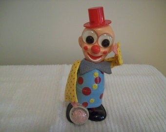 Toy Clown Wind-Up 6-Inch Japan Vintage 1950s