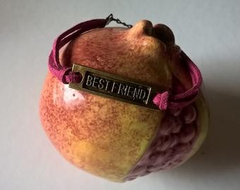 Bracelet pink, connector BestFriend bronze, leather Suede, modern, minimalist, zen, aromatherapy, Reiki