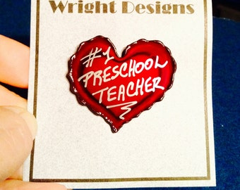 My #1 Preschool Teacher red heart brooch