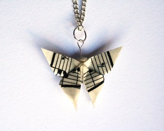 Origami Butterfly Sheet Music Necklace, Upcycled Vintage Sheet Music