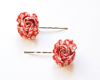 Origami Rose Hair Clips, Red Flower Pattern, Silver Flower Clips, 2pcs