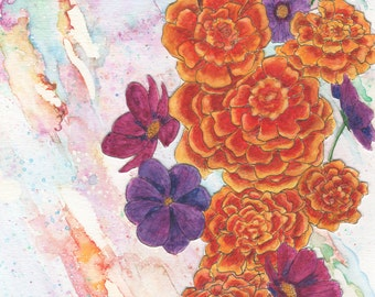 October Birthday Card - Marigold & Cosmos Greeting Card - Watercolor - Blank Inside - All Occasions