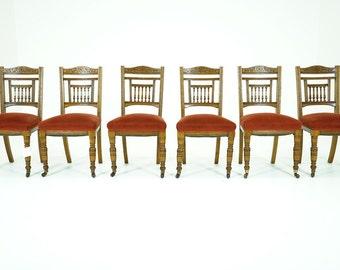 C2577 SALE! Antique Scottish Victorian Set 6 Oak Dining Chairs