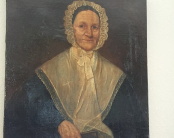 "Antique Early 1800's Oil Painting on Canvas - Primitive Portrait of a Woman Wearing a Bonnet -  Size 31"" x 25"""
