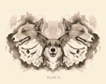 Corgi Print Dog Pet Psychology Psychiatry Ink Blot Inkblot Rorschach Pembroke Welsh Corgi