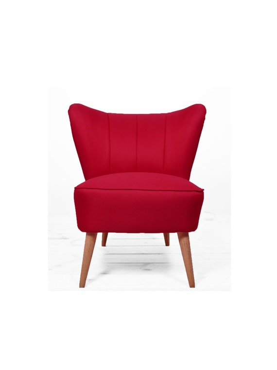 Red Reupholstered Coctail Armchair From 1960