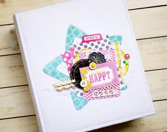 Sold! Baby photo album, daughter gift, blank scrapbook album, scrapbook album, bright photo album, summer photo album, large photo album