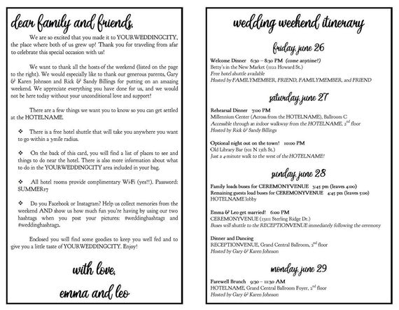 Wedding Weekend DIY Itinerary / Schedule Template With Photo 8.5 X 11 Half  Fold, Editable Microsoft Word File, Cursive Script Font