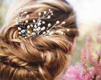 Wedding Hair Pins, Pearl Hair Pins, Bridal Hair Accessories, Set of 3 Pearl Branches