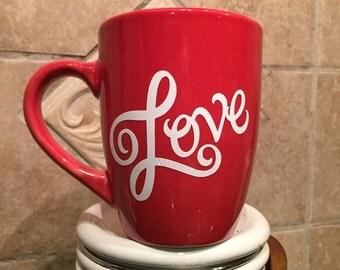 """Red Coffee Mug """"Love"""""""