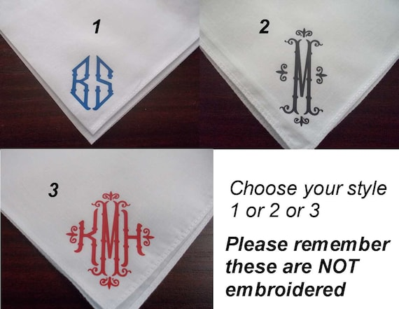 Personalized womens and mens Monogrammed handkerchief Sold as singles Great for Wedding gift Bridesmaids,Groom, moms dads