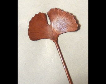Hand Hammered Copper Ginkgo Leaf