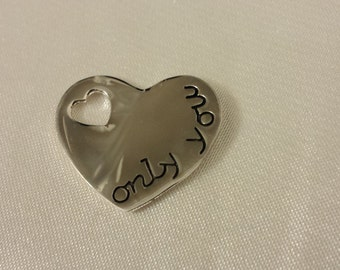 Heart pendant, Charm, sterling Silver heart, Sterling Silver only you heart