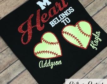 Personalized My Heart Belongs To Softball Shirt, Personalized Glitter Softball Mom Shirt, Personalized Grandma Softball Shirt