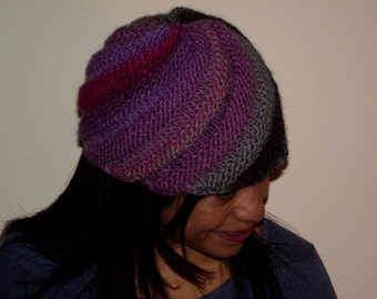 Hand made knitted hat Swirled Ski cap