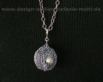 """wire crochet pendant """"BUBBLE"""" dark grey, with embedded, free moving fresh water pearls"""
