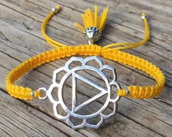 Chakra Bracelet, Solar Plexus Bracelet, Power Chakra, Adjustable Cord Macrame Friendship Bracelet, Yoga Bracelet, Meditation Bracelet