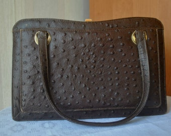 Vintage dark brown ostrich leather  bag evening bag purse from 60's